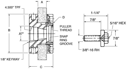"""PF Qty 5 Tapered Section 3-1//8/"""" Dia Standard Internal Retaining Ring"""